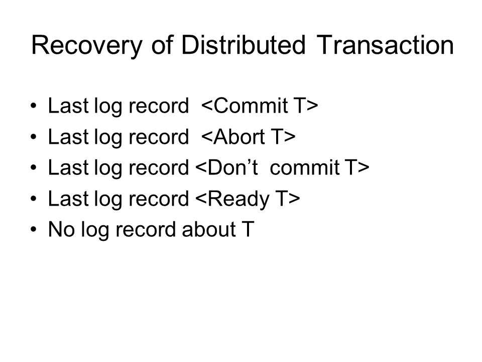 Recovery of Distributed Transaction Last log record No log record about T