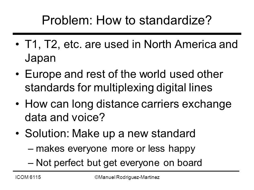 ICOM 6115©Manuel Rodriguez-Martinez Problem: How to standardize.