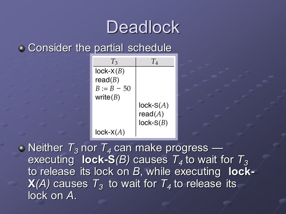Deadlock Consider the partial schedule Neither T 3 nor T 4 can make progress — executing lock-S(B) causes T 4 to wait for T 3 to release its lock on B, while executing lock- X(A) causes T 3 to wait for T 4 to release its lock on A.