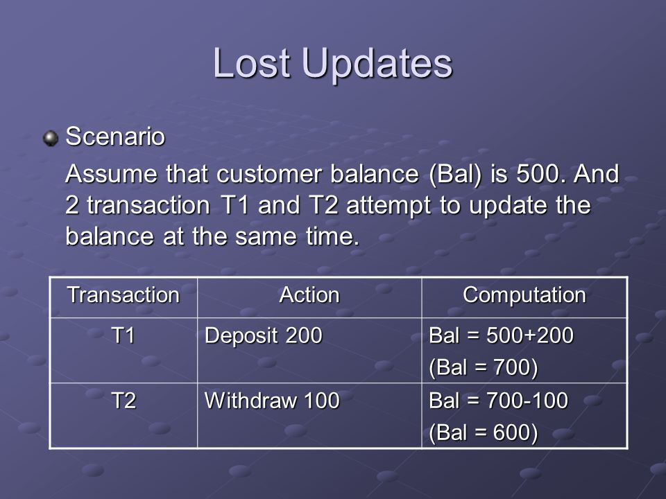 Lost Updates Scenario Assume that customer balance (Bal) is 500.