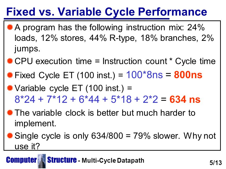 Computer Structure - Multi-Cycle Datapath  For the former instruction mix a fixed cycle clock might do.