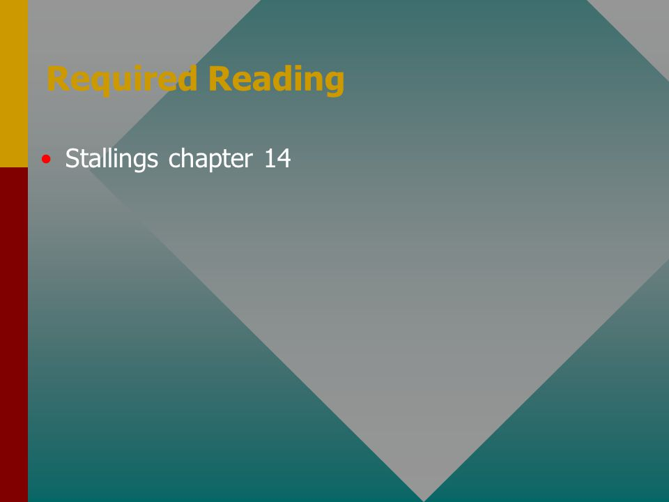 Required Reading Stallings chapter 14