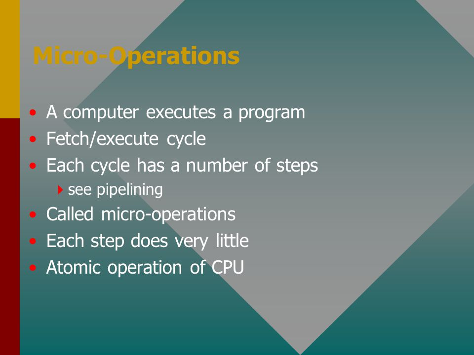 Micro-Operations A computer executes a program Fetch/execute cycle Each cycle has a number of steps  see pipelining Called micro-operations Each step