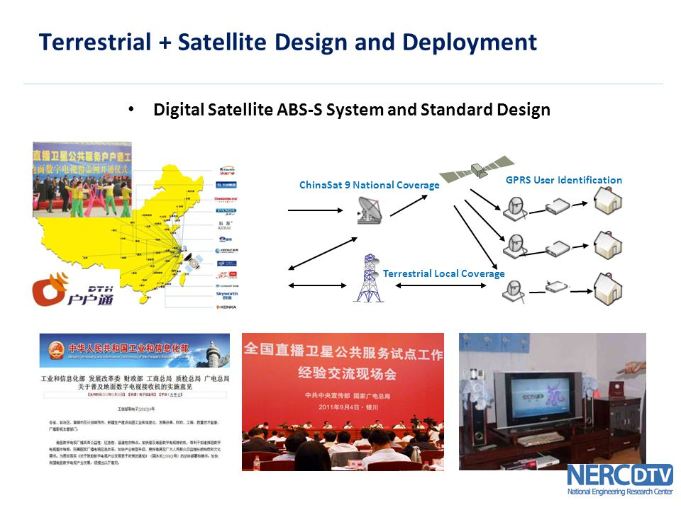 Terrestrial + Satellite Design and Deployment Digital Satellite ABS-S System and Standard Design GPRS User Identification ChinaSat 9 National Coverage Terrestrial Local Coverage