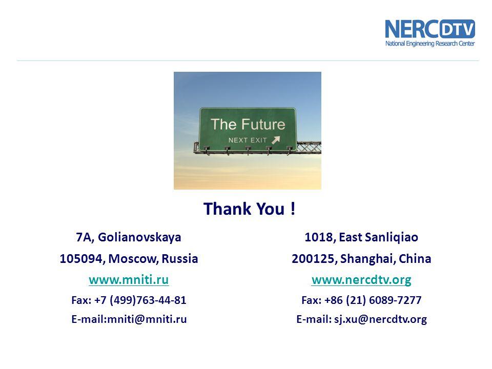 7A, Golianovskaya 105094, Moscow, Russia www.mniti.ru Fax: +7 (499)763-44-81 E-mail:mniti@mniti.ru Thank You ! 1018, East Sanliqiao 200125, Shanghai,
