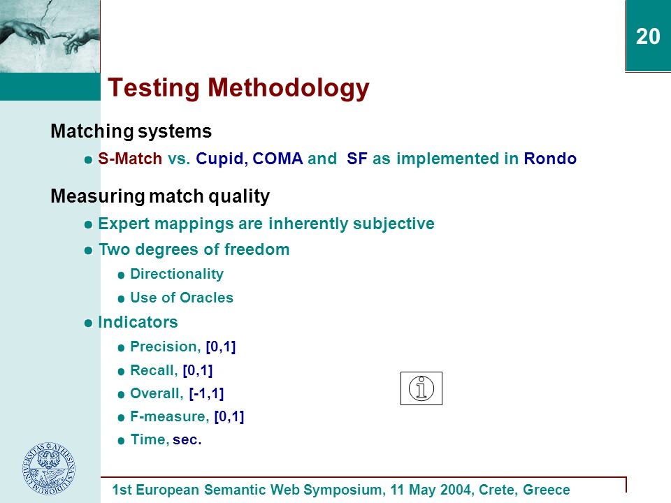 1st European Semantic Web Symposium, 11 May 2004, Crete, Greece 20 Testing Methodology Measuring match quality Expert mappings are inherently subjective Two degrees of freedom Directionality Use of Oracles Indicators Precision, [0,1] Recall, [0,1] Overall, [-1,1] F-measure, [0,1] Time, sec.