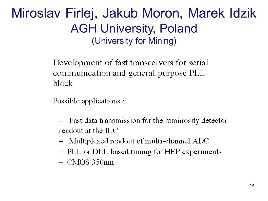 25 Miroslav Firlej, Jakub Moron, Marek Idzik AGH University, Poland (University for Mining)