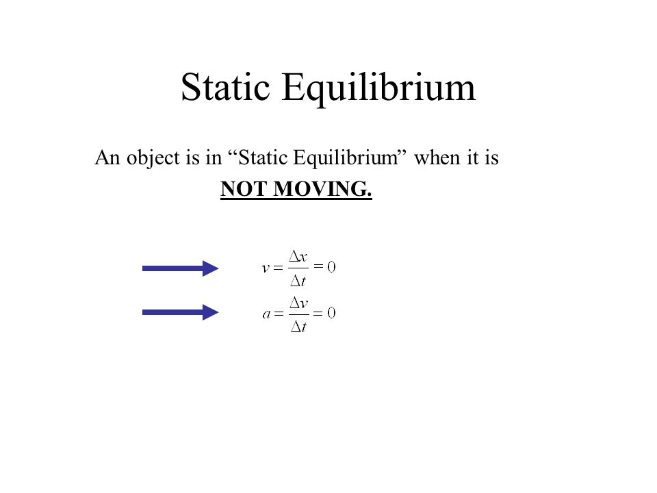 "Static Equilibrium An object is in ""Static Equilibrium"" when it is NOT MOVING."