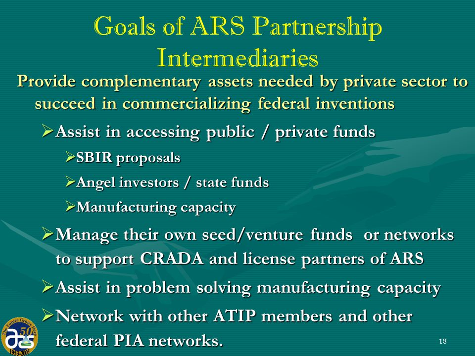 18 Goals of ARS Partnership Intermediaries Provide complementary assets needed by private sector to succeed in commercializing federal inventions  Assist in accessing public / private funds  SBIR proposals  Angel investors / state funds  Manufacturing capacity  Manage their own seed/venture funds or networks to support CRADA and license partners of ARS  Assist in problem solving manufacturing capacity  Network with other ATIP members and other federal PIA networks.