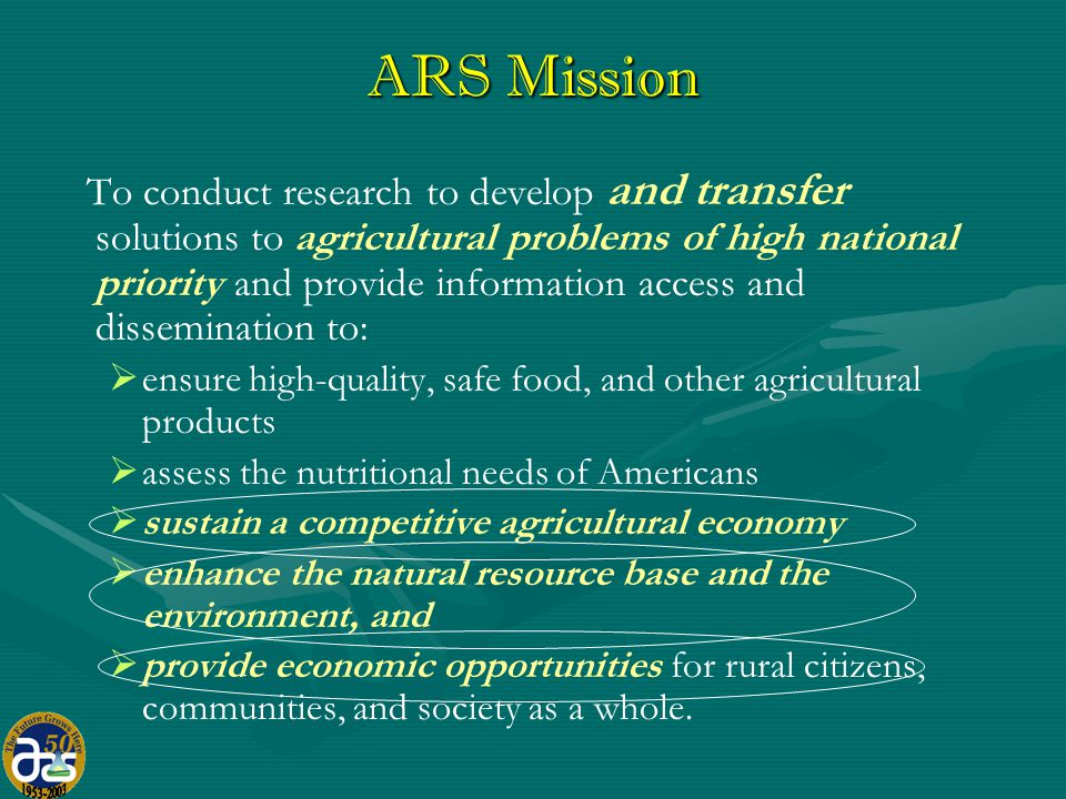 The Research Capacity of ARS ($1.1 B intramural) Area Directors of 8 Area Offices; oversee execution & quality of research 2100 scientists & engineers 100+ locations > 1000 research projects Line Management of ARS