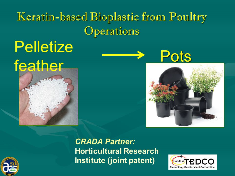 Pelletize feather CRADA Partner: Horticultural Research Institute (joint patent) Pots Keratin-based Bioplastic from Poultry Operations