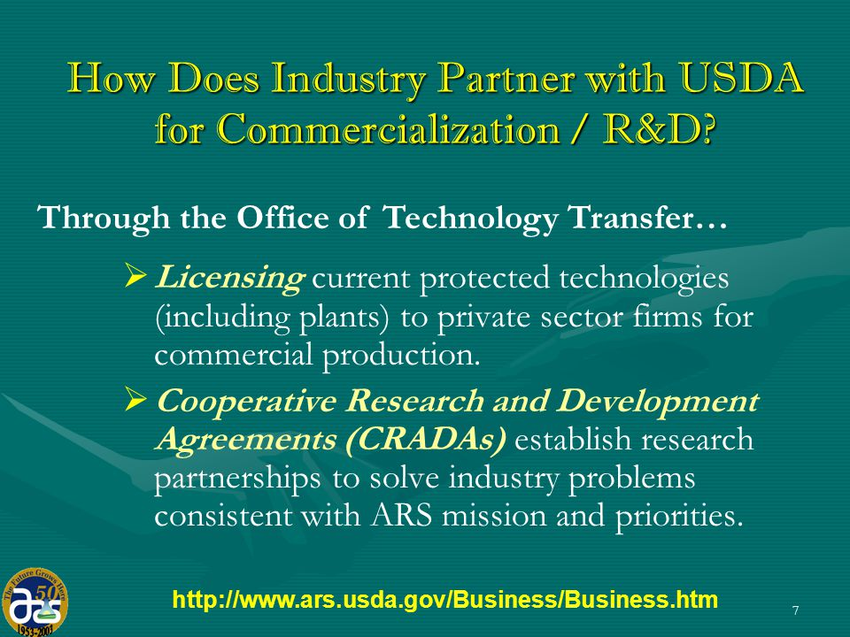 7 How Does Industry Partner with USDA for Commercialization / R&D.