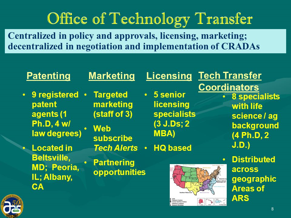 8 Office of Technology Transfer Patenting 9 registered patent agents (1 Ph.D, 4 w/ law degrees) Located in Beltsville, MD; Peoria, IL; Albany, CA Licensing 5 senior licensing specialists (3 J.Ds; 2 MBA) HQ based Tech Transfer Coordinators 8 specialists with life science / ag background (4 Ph.D, 2 J.D.) Distributed across geographic Areas of ARS Marketing Targeted marketing (staff of 3) Web subscribe Tech Alerts Partnering opportunities Centralized in policy and approvals, licensing, marketing; decentralized in negotiation and implementation of CRADAs