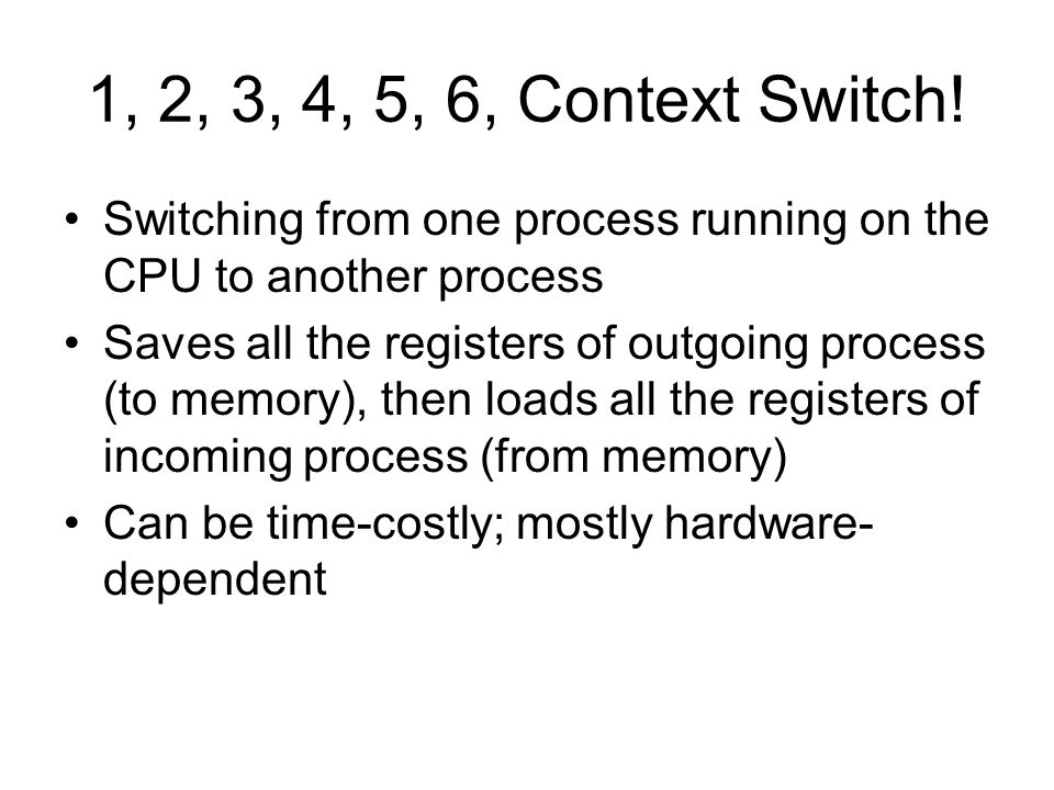 1, 2, 3, 4, 5, 6, Context Switch.