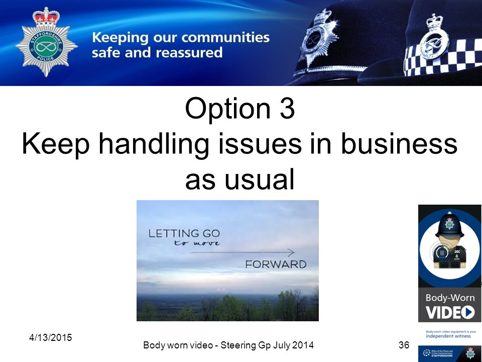 Option 3 Keep handling issues in business as usual 4/13/2015 Body worn video - Steering Gp July 201436