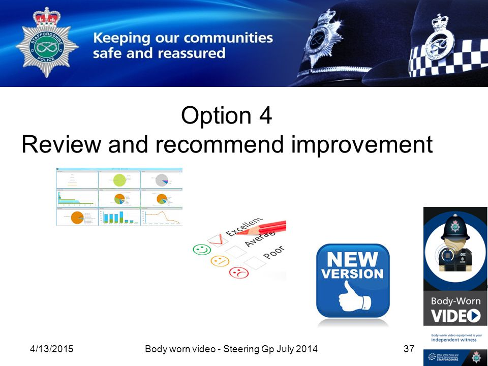 Option 4 Review and recommend improvement 4/13/2015Body worn video - Steering Gp July 201437