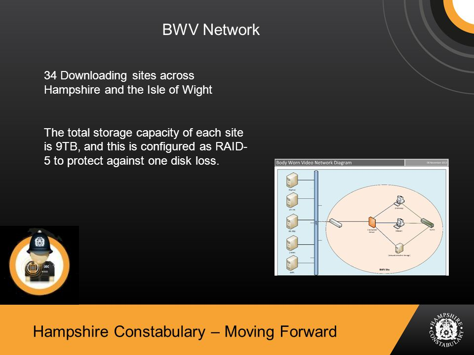 Hampshire Constabulary – Moving Forward BWV Network 34 Downloading sites across Hampshire and the Isle of Wight The total storage capacity of each site is 9TB, and this is configured as RAID- 5 to protect against one disk loss.