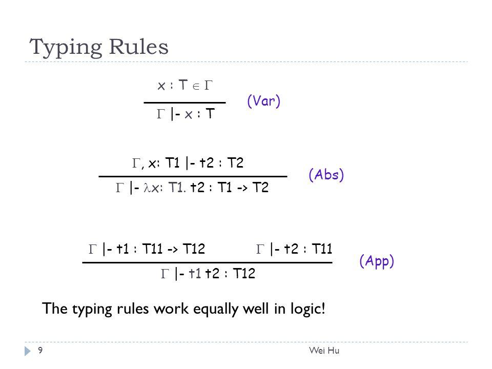Typing Rules , x: T1 |- t2 : T2  |- x: T1.