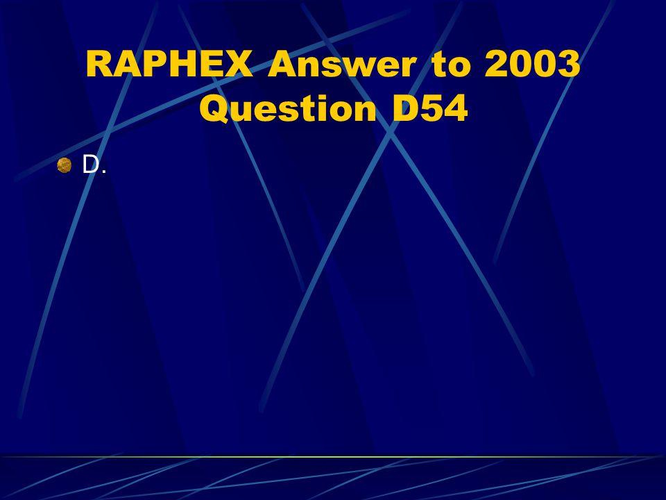 RAPHEX Answer to 2003 Question D54 D.