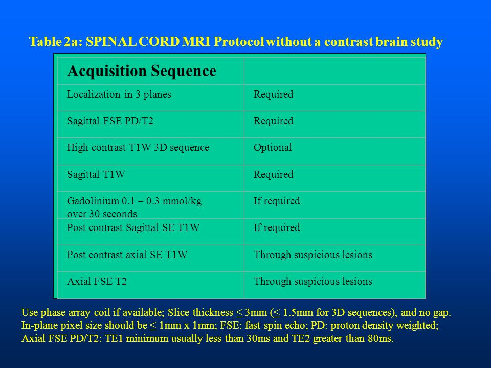 Table 2a: SPINAL CORD MRI Protocol without a contrast brain study Acquisition Sequence Localization in 3 planesRequired Sagittal FSE PD/T2Required Hig