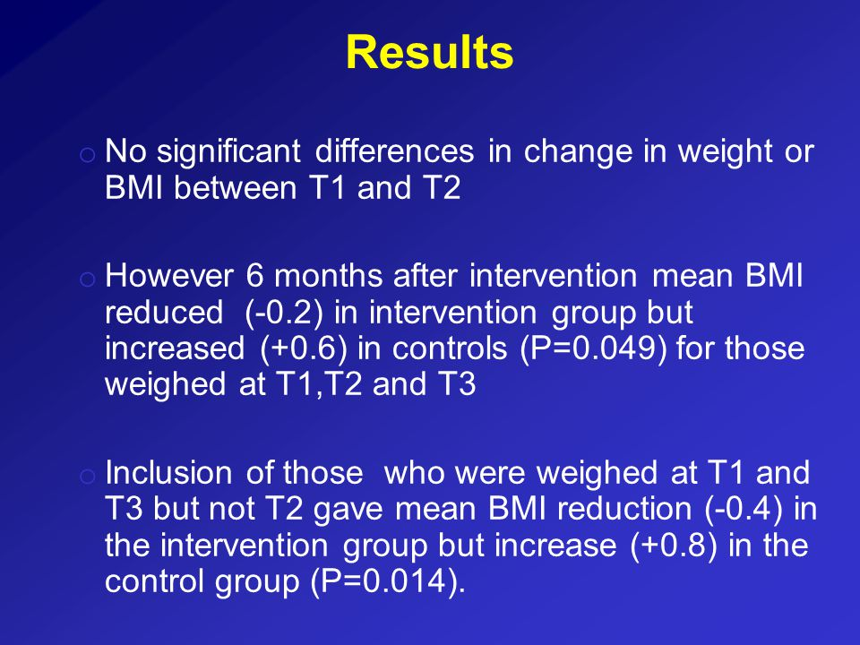Results o No significant differences in change in weight or BMI between T1 and T2 o However 6 months after intervention mean BMI reduced (-0.2) in intervention group but increased (+0.6) in controls (P=0.049) for those weighed at T1,T2 and T3 o Inclusion of those who were weighed at T1 and T3 but not T2 gave mean BMI reduction (-0.4) in the intervention group but increase (+0.8) in the control group (P=0.014).