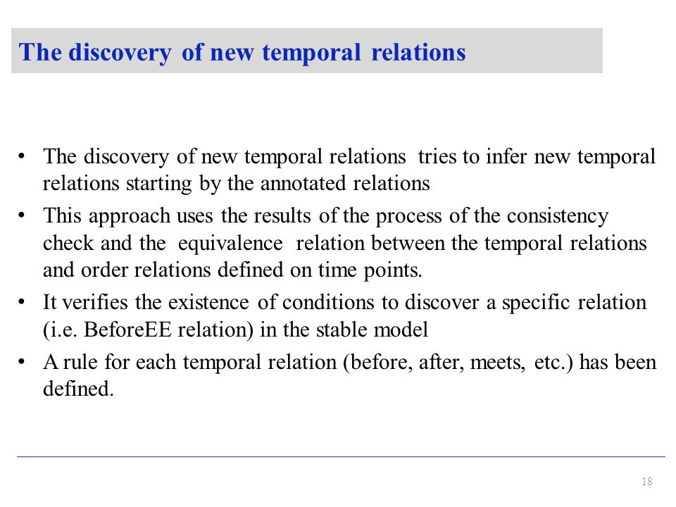 The discovery of new temporal relations The discovery of new temporal relations tries to infer new temporal relations starting by the annotated relations This approach uses the results of the process of the consistency check and the equivalence relation between the temporal relations and order relations defined on time points.