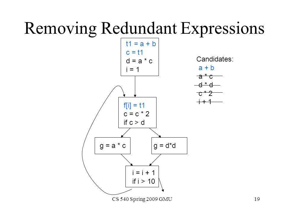 CS 540 Spring 2009 GMU19 Removing Redundant Expressions t1 = a + b c = t1 d = a * c i = 1 f[i] = t1 c = c * 2 if c > d g = a * c g = d*d i = i + 1 if i > 10 Candidates: a + b a * c d * d c * 2 i + 1