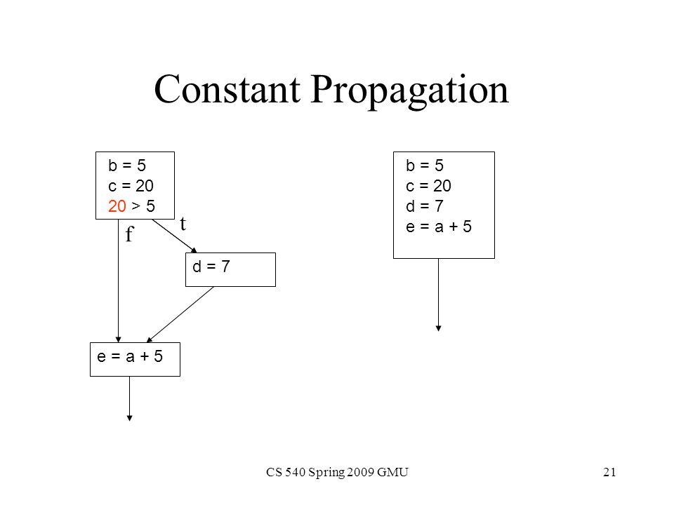 CS 540 Spring 2009 GMU21 Constant Propagation b = 5 c = 20 20 > 5 d = 7 e = a + 5 t f b = 5 c = 20 d = 7 e = a + 5