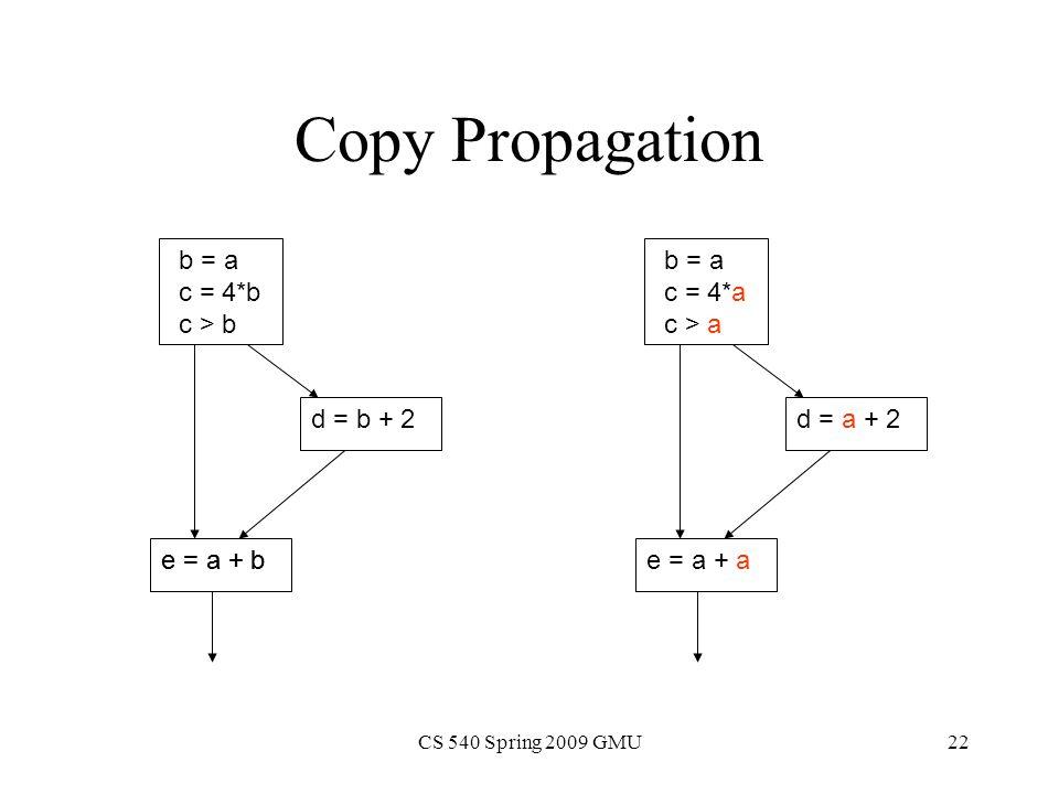 CS 540 Spring 2009 GMU22 Copy Propagation b = a c = 4*b c > b d = b + 2 e = a + b b = a c = 4*a c > a d = a + 2 e = a + ae = a + b
