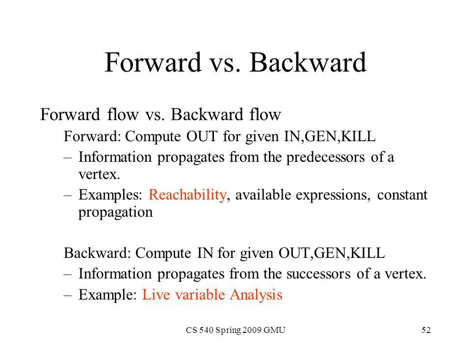 CS 540 Spring 2009 GMU52 Forward vs. Backward Forward flow vs.