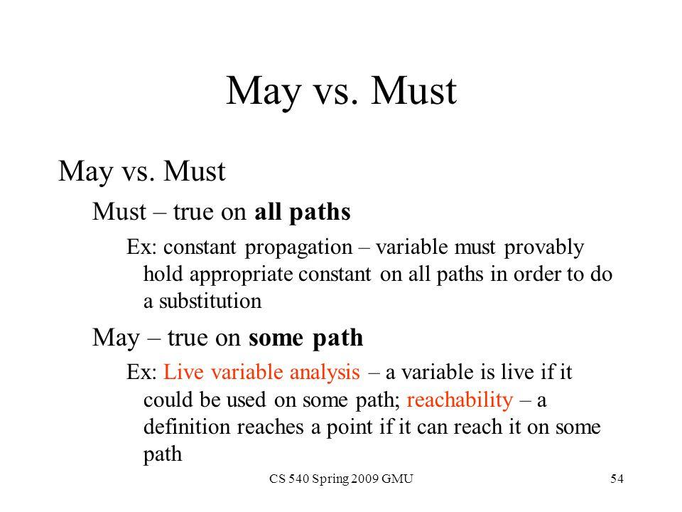 CS 540 Spring 2009 GMU54 May vs.