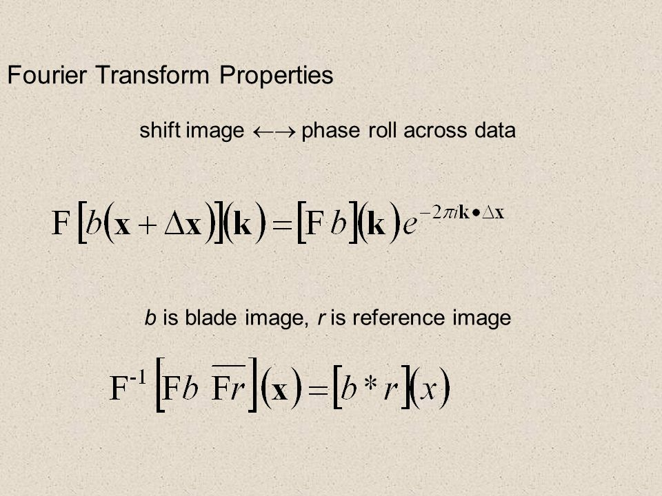 Fourier Transform Properties shift image  phase roll across data b is blade image, r is reference image