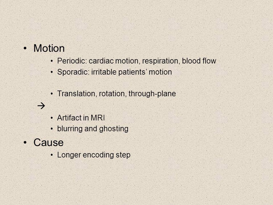 Motion Periodic: cardiac motion, respiration, blood flow Sporadic: irritable patients' motion Translation, rotation, through-plane  Artifact in MRI b