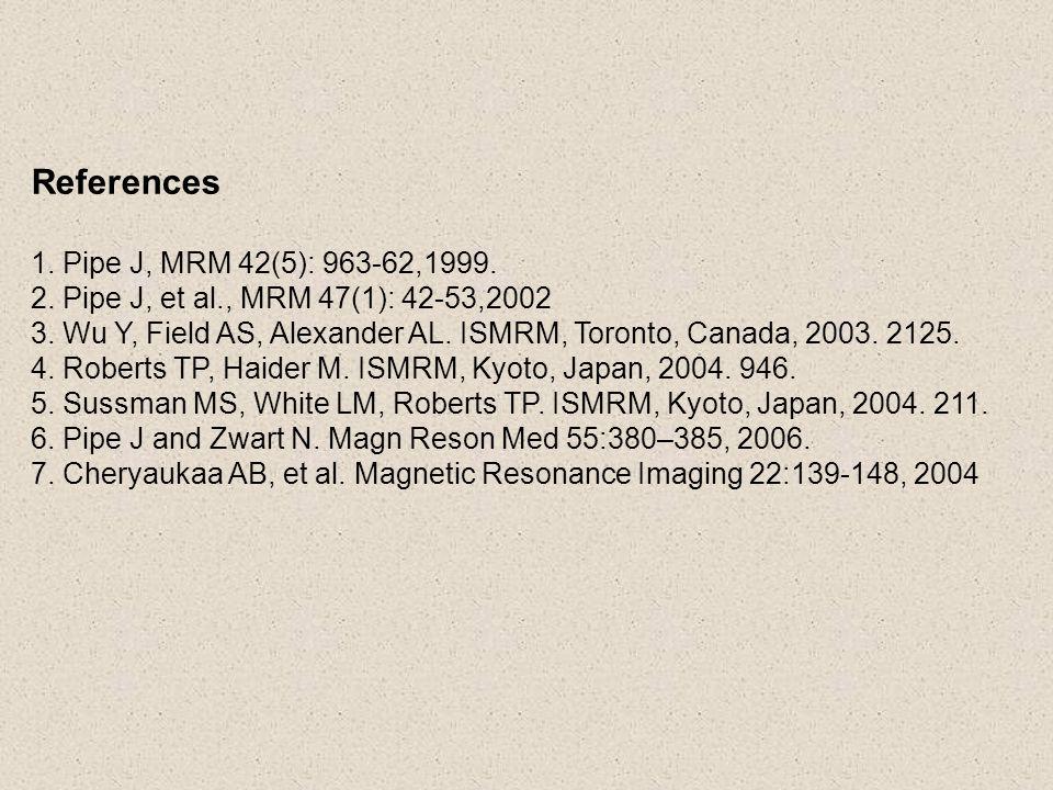 References 1. Pipe J, MRM 42(5): 963-62,1999. 2. Pipe J, et al., MRM 47(1): 42-53,2002 3. Wu Y, Field AS, Alexander AL. ISMRM, Toronto, Canada, 2003.
