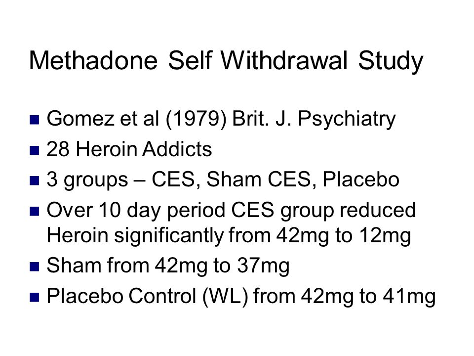 Methadone Self Withdrawal Study Gomez et al (1979) Brit.