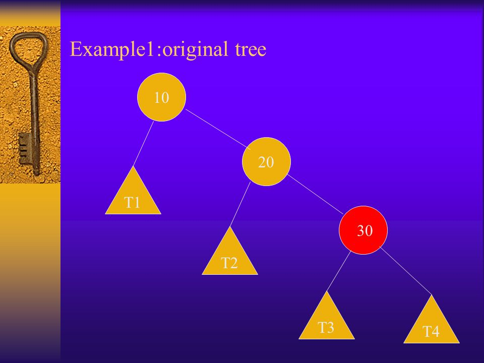 Example1:original tree 10 20 30 T1 T3 T2 T4