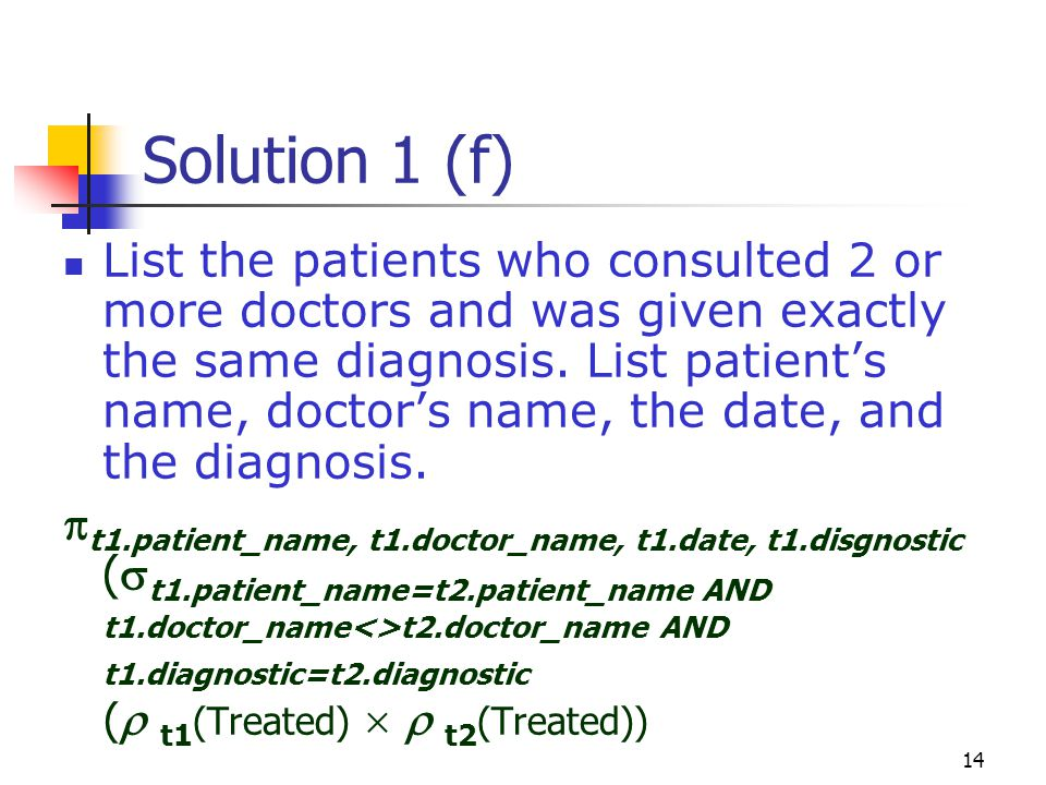 14 Solution 1 (f) List the patients who consulted 2 or more doctors and was given exactly the same diagnosis.