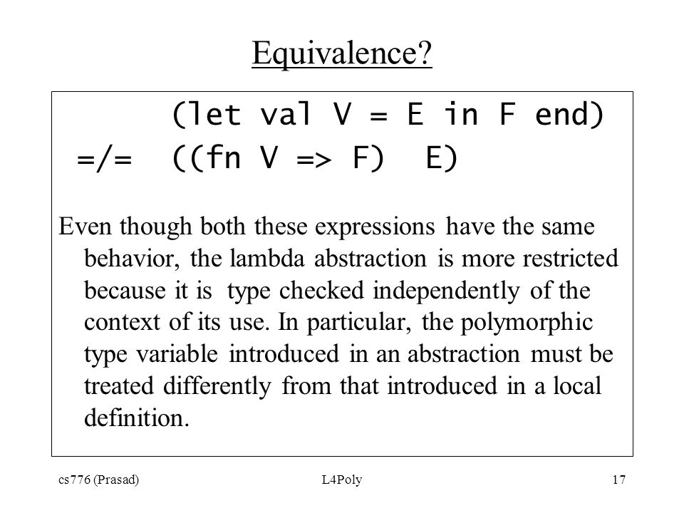 cs776 (Prasad)L4Poly17 Equivalence.