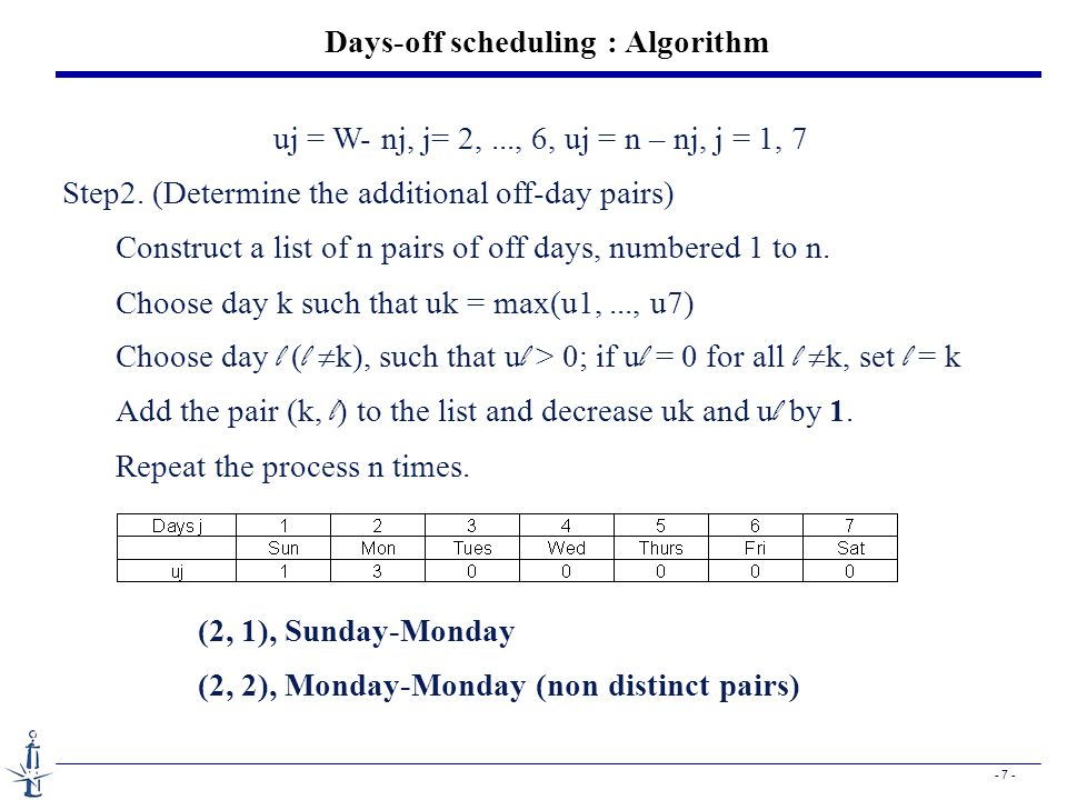 - 7 - Days-off scheduling : Algorithm uj = W- nj, j= 2,..., 6, uj = n – nj, j = 1, 7 Step2. (Determine the additional off-day pairs) Construct a list