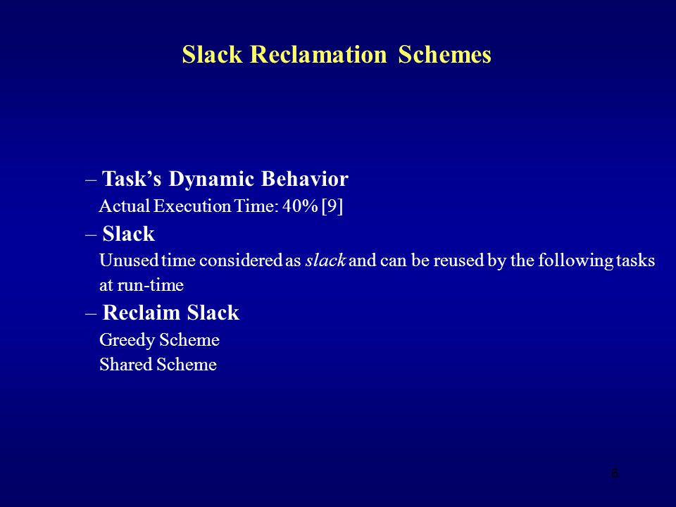 6 Slack Reclamation Schemes – Task's Dynamic Behavior Actual Execution Time: 40% [9] – Slack Unused time considered as slack and can be reused by the following tasks at run-time – Reclaim Slack Greedy Scheme Shared Scheme