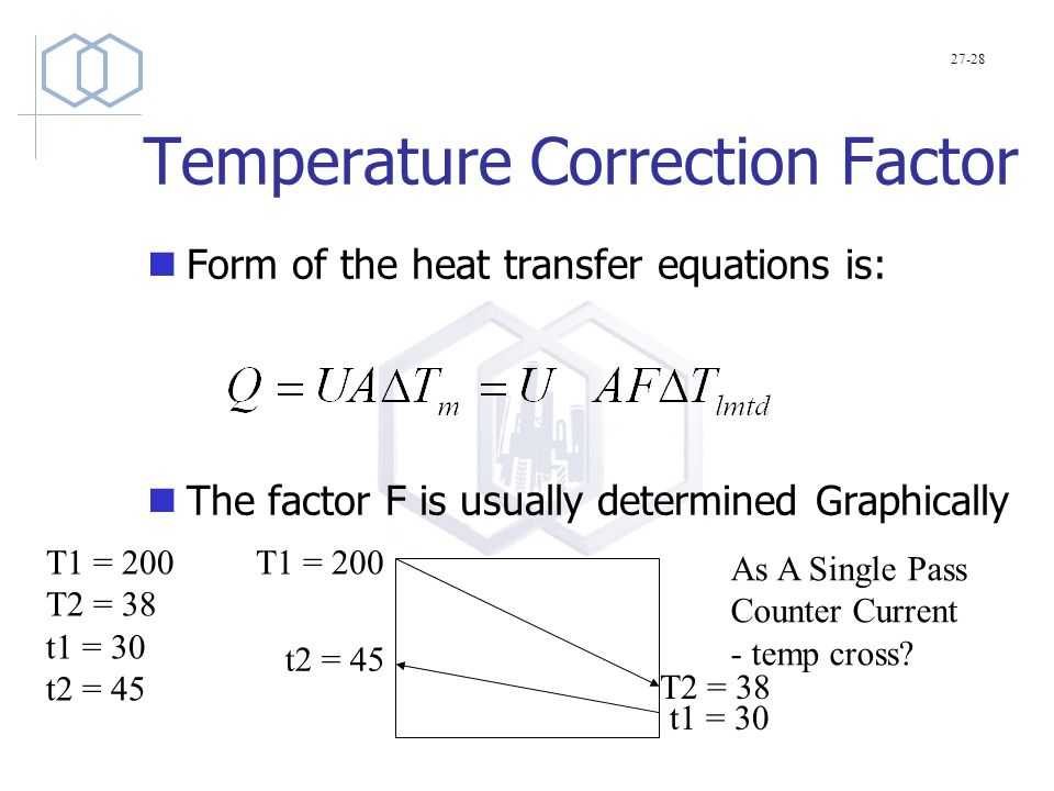 Temperature Correction Factor Form of the heat transfer equations is: The factor F is usually determined Graphically 27-28 T1 = 200 T2 = 38 t1 = 30 t2 = 45 T1 = 200 T2 = 38 t1 = 30 t2 = 45 As A Single Pass Counter Current - temp cross