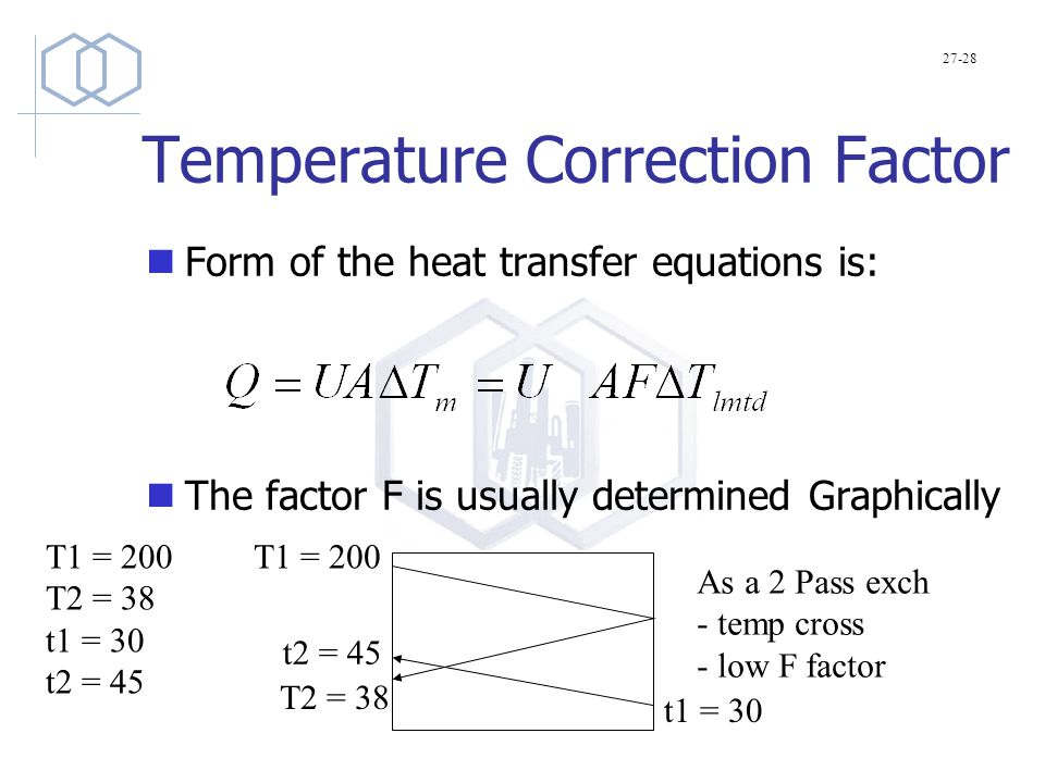 Temperature Correction Factor Form of the heat transfer equations is: The factor F is usually determined Graphically 27-28 T1 = 200 T2 = 38 t1 = 30 t2 = 45 T1 = 200 T2 = 38 t1 = 30 t2 = 45 As a 2 Pass exch - temp cross - low F factor