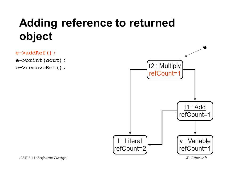 K. Stirewalt CSE 335: Software Design Adding reference to returned object e->addRef(); e->print(cout); e->removeRef(); l : Literal refCount=2 v : Vari