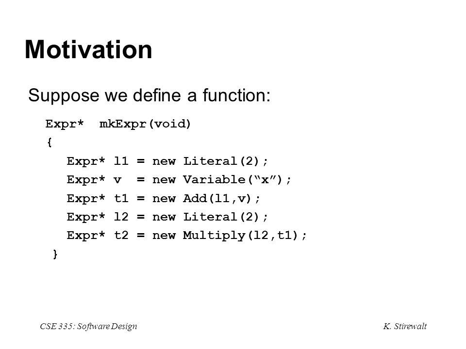 K. Stirewalt CSE 335: Software Design Motivation Suppose we define a function: Expr* mkExpr(void) { Expr* l1 = new Literal(2); Expr* v = new Variable(