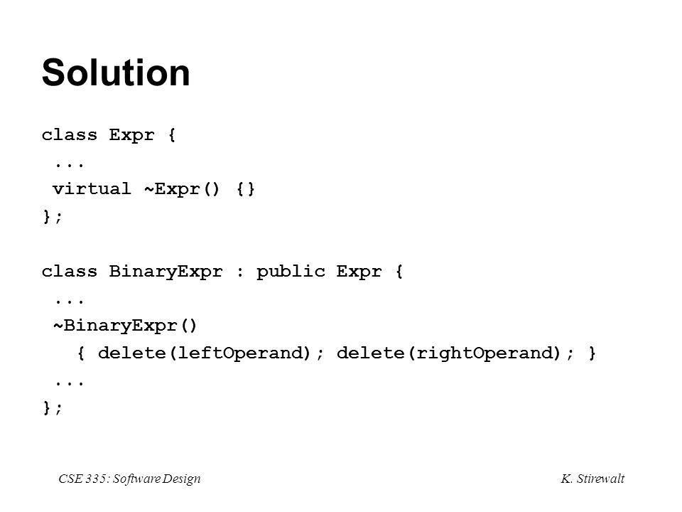 K. Stirewalt CSE 335: Software Design Solution class Expr {...