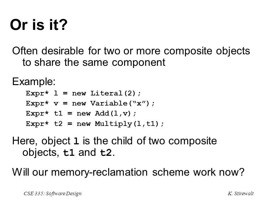 K. Stirewalt CSE 335: Software Design Or is it.