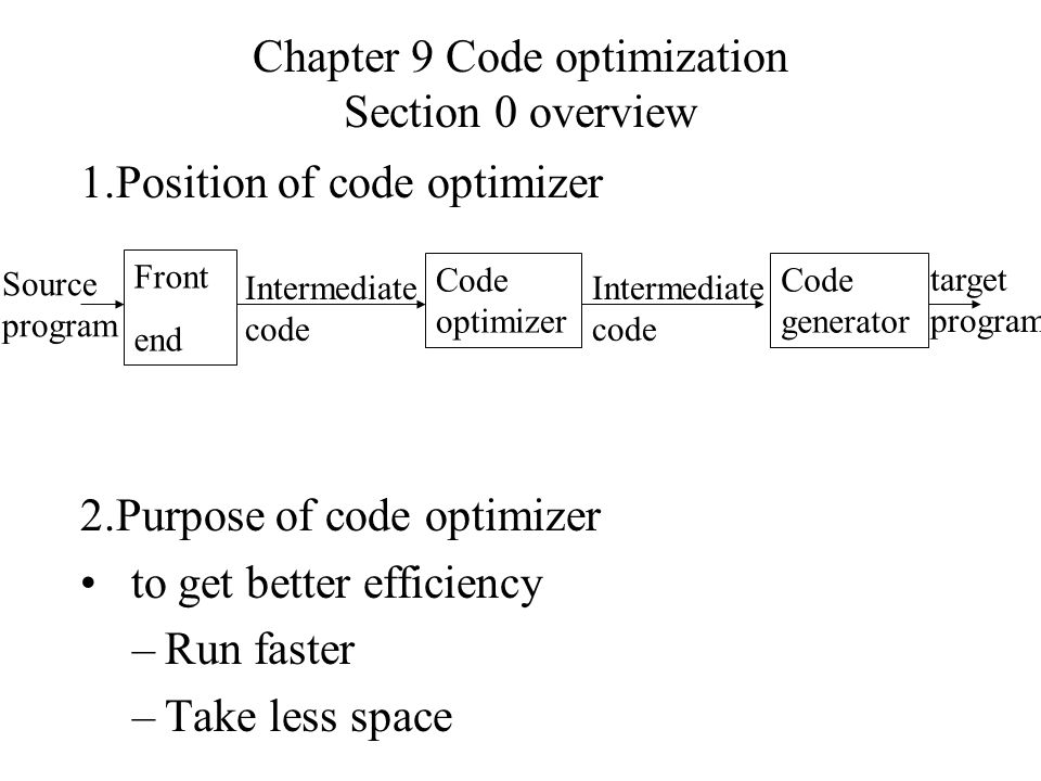 Chapter 9 Code optimization Section 0 overview 1.Position of code optimizer 2.Purpose of code optimizer to get better efficiency –Run faster –Take less space Front end Source program Code optimizer Code generator Intermediate code target program