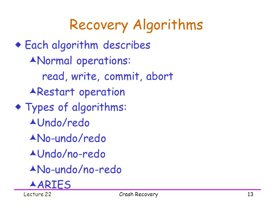 Lecture 22Crash Recovery13 Recovery Algorithms  Each algorithm describes  Normal operations: read, write, commit, abort  Restart operation  Types