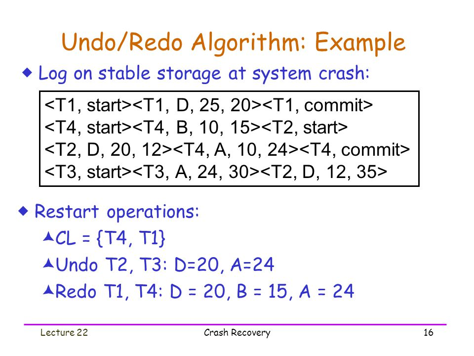 Lecture 22Crash Recovery16 Undo/Redo Algorithm: Example  Restart operations:  CL = {T4, T1}  Undo T2, T3: D=20, A=24  Redo T1, T4: D = 20, B = 15, A = 24  Log on stable storage at system crash: