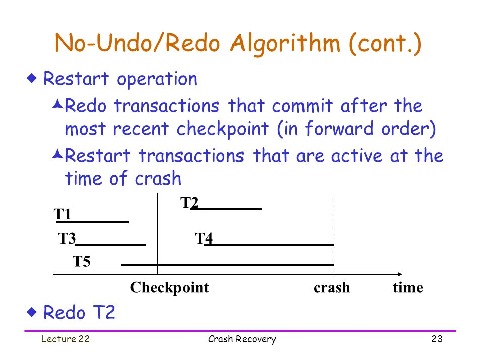 Lecture 22Crash Recovery23 No-Undo/Redo Algorithm (cont.)  Restart operation  Redo transactions that commit after the most recent checkpoint (in for